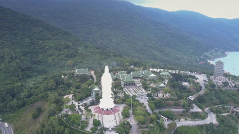 amazing aerial view religious complex with buddha statue Live Action