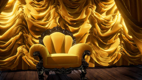 luxurious theater curtain stage with chair Live Action