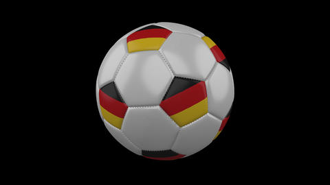 Germany flag on a ball rotates on a transparent background, alpha channel loop Animation