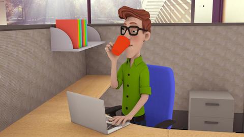 Office Man Drinking Coffee GIF