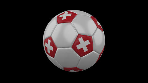Switzerland flag on a ball rotates on a transparent background, alpha channel Animation