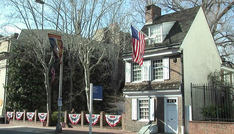 The Betsy Ross house in Philadelphia with American flag... Stock Video Footage
