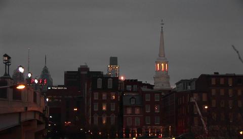 A Philadelphia neighborhood at night Footage