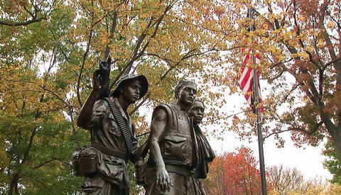 The Vietnam Veteran's Memorial in Washington D.C Stock Video Footage