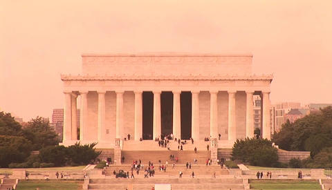 The Lincoln Memorial in Washington DC with visitors approaching, from a distance Footage