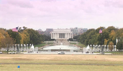 The Lincoln Memorial with reflecting pools distant Stock Video Footage