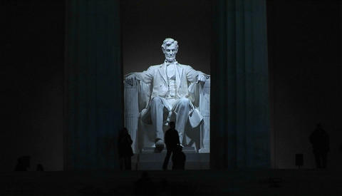 The Lincoln Memorial at night Footage