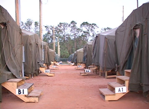 Medium shot of a FEMA refugee camp Footage