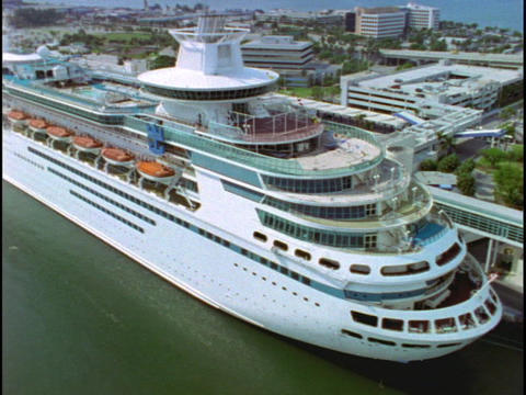 A cruise ship includes lifeboats and swimming pools in... Stock Video Footage