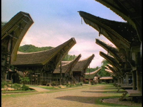The longhouses in Sulawesi, Indonesia look likes ships Footage