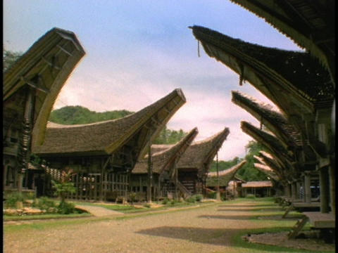 The longhouses in Sulawesi, Indonesia look likes ships Stock Video Footage