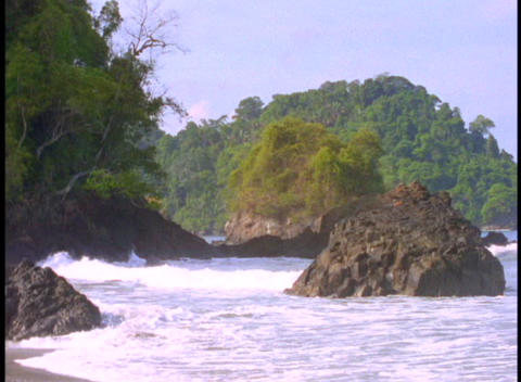 Medium shot of the Coast Rica coastline near Manuel Antonio Stock Video Footage