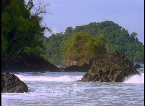 Medium shot of the Coast Rica coastline near Manuel Antonio Footage