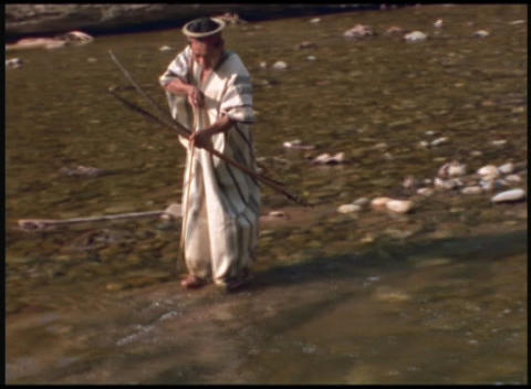 Following-shot of a traditional Ashaninka Indian hunting... Stock Video Footage