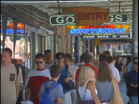 Pedestrians walk the tourist shopping district of Sydney, Australia Footage