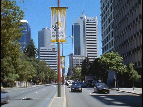 A Festival of Perth sign hangs from a light post as... Stock Video Footage