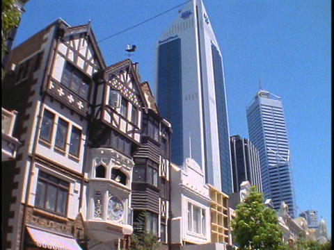 Pedestrians walk on a street of downtown Perth Stock Video Footage