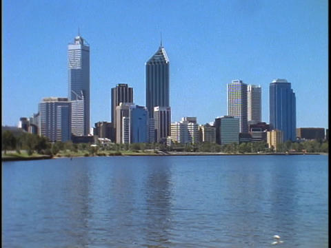 High rises dominate the skyline of Melbourne, Australia Stock Video Footage