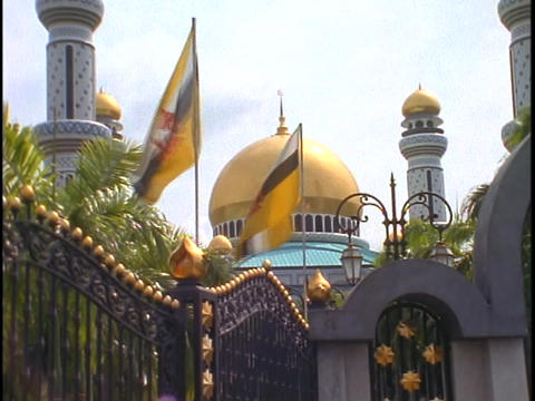 Flags wave in the breeze in front of the Gold palace of... Stock Video Footage