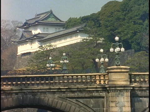 A bridge spans a river below the Royal Imperial Palace in Kyoto, Japan Footage