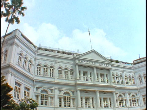 The Raffles Hotel in Singapore displays its colonial architecture Footage