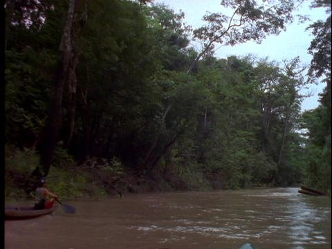 An Amazonian man canoes down the Amazon River in Brazil Stock Video Footage