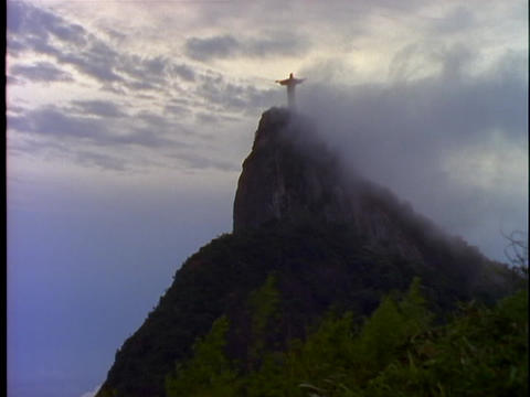 Fog rolls over the Christ The Redeemer statue in Rio De Janeiro, Brazil Footage