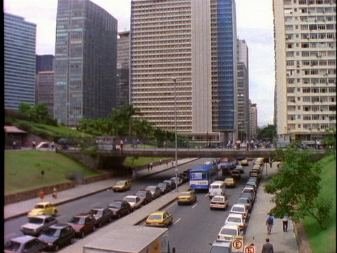 Heavy traffic drives toward the business district of Rio... Stock Video Footage