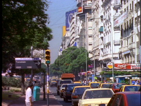 Traffic drives through Buenos Aires, Argentina Footage