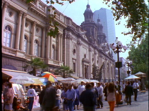 Old colonial buildings line the downtown area of Lima, Peru Stock Video Footage