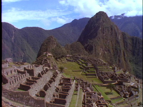 A pan across Machu Picchu Incan ruins in Peru Footage