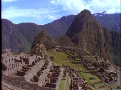 A pan across Machu Picchu Incan ruins in Peru Footage