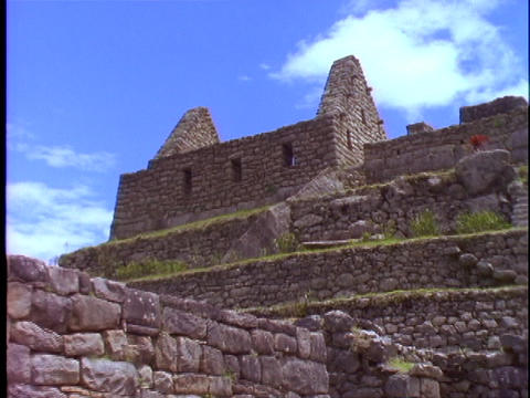 Stone walls line each level of the ruins of Machu Picchu Footage