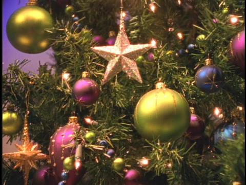 Ornaments Cover A Christmas Tree stock footage