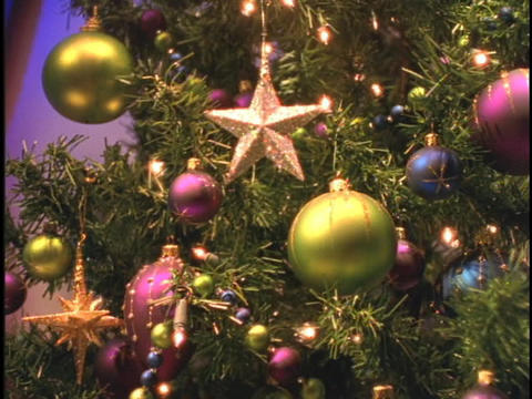 Ornaments cover a Christmas tree Stock Video Footage