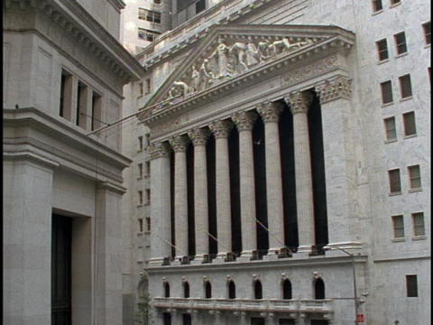 Beautiful architecture adorns the outside of the New York Stock Exchange building Footage