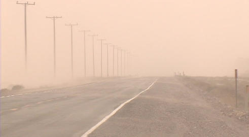A dust storm rages in the desert Stock Video Footage