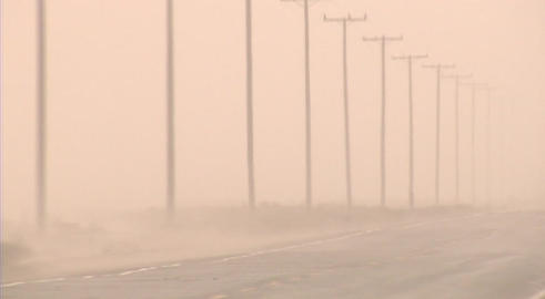 A dust storm rages in the desert Footage