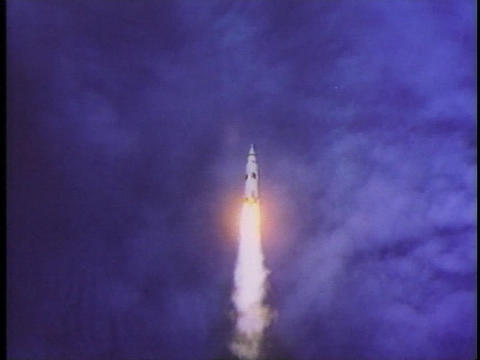 A rocket launches into space Stock Video Footage