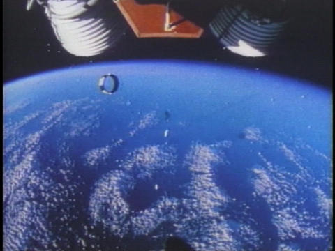 A NASA rocket separates in space Stock Video Footage