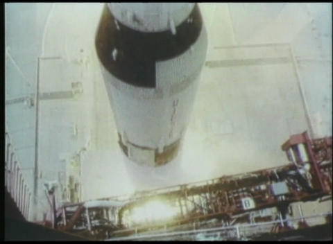 A high angle view of a rocket launching from its platform... Stock Video Footage