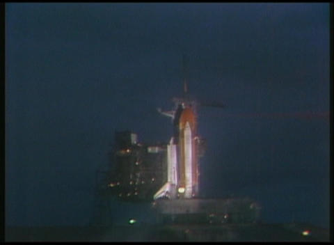 Long-shot of the Space Shuttle in preparation for liftoff... Stock Video Footage
