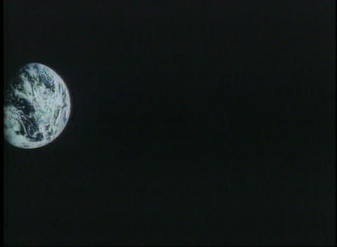 A slow pan to view Earth from outer space Stock Video Footage