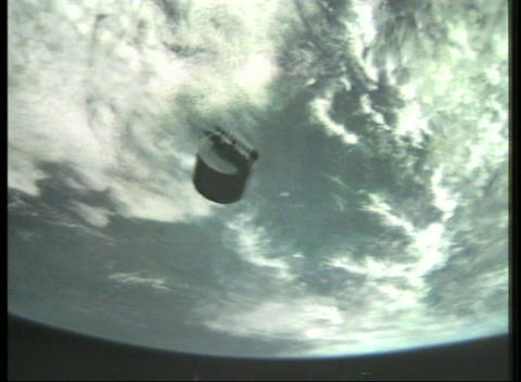 Aerial view of a satellite in orbit with a view of Earth... Stock Video Footage