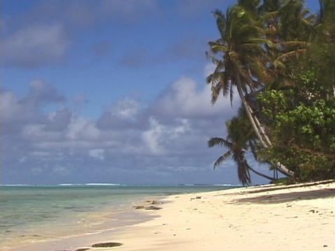 A women strolls across a tropical beach Stock Video Footage
