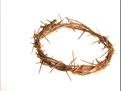 A crown of thorns floats on a white background Footage