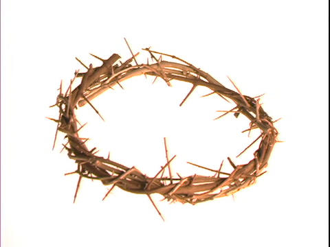 A crown of thorns floats on a white background Stock Video Footage