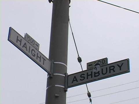 Street signs read Haight and Ashbury in San Francisco Stock Video Footage