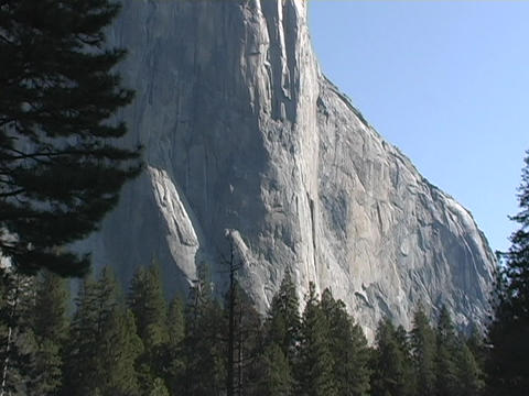 The face of El Capitan mountain stands in Yosemite... Stock Video Footage