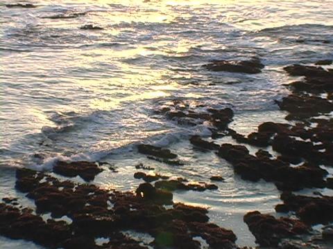 Ocean waves roll onto a rocky coastline Footage